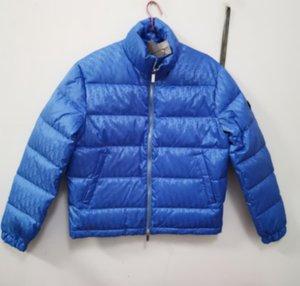 Men Down Puffer Jacket Oblique Letter Appliques Designer Male Warm Double Zipper Outwear Fashion Gentlemen Stand Collar Winter Coat