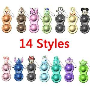 100PCS Push Bubble simple dimple Key Ring Fidget Pop Toys Keychain Kids Adult Novel Squeeze Bubbles Puzzle Finger Fun Game Fidgets Toy Stress Relief