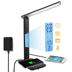 Table Lamps 10W QI Wireless Charging LED Desk Lamp Light Eye Protect Study Office For Reading With Temperature Alarm Clock