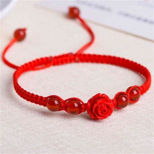 Natural agate with cinnabar Rose Hand Woven red rope bracelet and Anklet