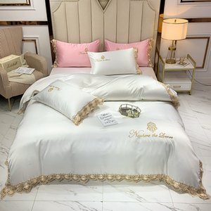Exquisite embroidery Luxury Sheets Sets Lace Duvet Cover Pillowcase Flat sheet Bed Set Queen Calfornial King size Wedding Bedding gift Designer BedSheet 4pcs