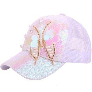 Sombrero de mujer Taobao hilado de lentejuelas mariposa perla béisbol