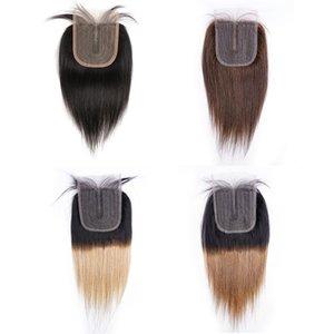 T Teil 4x1 Spitze Verschluss gerade Indische menschliche haare natürliche farbe dunkelbraun # 2 # 4 t1b27 honig blonde t1b30 suburn ombre schuss