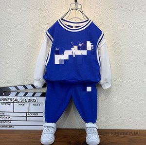 Designer kids sports clothing sets boys letter printed fake two piece sweatshirt+casual trousers 2pcs autumn children casual outfits Q1942