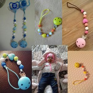 Cadena de clips de chupete Chain Colorful Cuentas coloridas Dummy Clip Hecho a mano Bebé Soporte para chupetes para niños #
