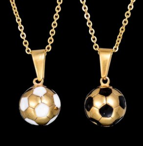Stainless Steel Football Necklace 2 Styles Soccer Necklace Charm Pendant Natural Stone Jewelry Sporty ps2914