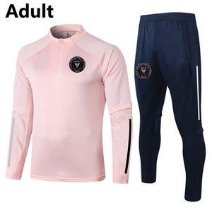 2021 Inter Miami CF Fussball Training Anzug Herren Trainingsanzüge Erwachsene Fußballübersicht Trainingsanzug Sets Kits Wintersport Langarm Sweatshirt und Hosen Set