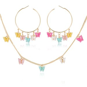 Multicolor Acrylic Drop Earrings Necklace for Women Trendy Cute butterfly statement Long Chain Jewelry Set