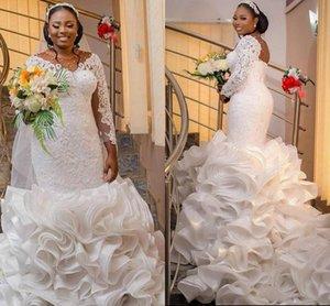 Nigerian African Mermaid Wedding Dresses Plus Size Arabic Aso Ebi Ruffles Cathedral Train Lace Sheer Long Sleeve Bridal Dress
