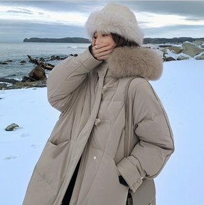 Cotton dress women 2020 winter new Korean fashion ox horn button coat harajuku jacket Zipper A-Line Long