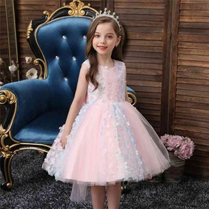 Flower Baby Girls Dress Lace Petal Wedding Party Dresses Formal First Communion Children Costumes Kids Clothing 210508