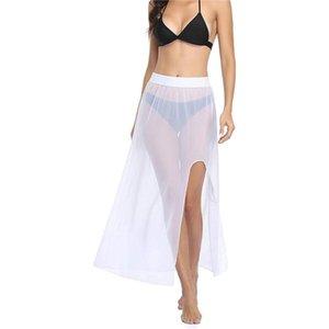 Cubiertas de bikini de malla de la malla de la malla ver a través de la falda de la playa de la cintura alta vestidos de color sólido