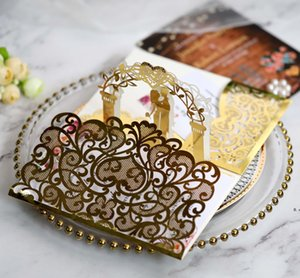 3D Wedding Invitation Cards Laser Hollow Out Bride And Bridegroom Reflective Gold Invitations For Wedding Engagement EWD10677