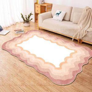 Carpets Irregular Shaped Pink Carpet Modern Minimalist Gradient Wave Frame Room Rugs Home Decor Girl Soft Floor Mat Bedside