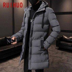 Men's Down & Parkas RUIHUO Long Winter Jacket Men 2021 Coat Hip Hop Casual Hooded Warm M-4XL
