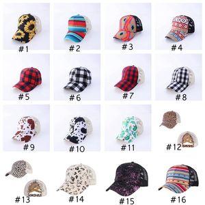 25 Farben Criss Cross Ponytail-Hüte Frau gewaschenes Mesh Mordy Bun Camo Leopard Sonnenblume Plaid Baseballkappe CYZ3010