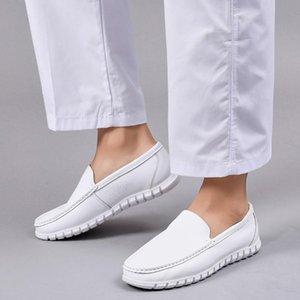 Erkekler bakım konfor ayakkabı düz renk sığ med düz loafer'lar rahat deri açık yuvarlak ayak # elbise