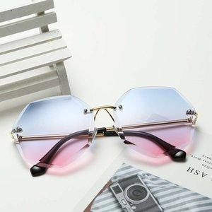 Sunglasses 2021 polygon trimming metal frameless copy Women's marine anti ultraviolet glasses