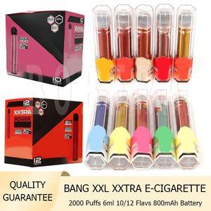 Bang XXL XXTRA 전자 담배 일회용 vape 펜 800mAh 배터리 6ml 포드 2000 퍼프 스타터 키트