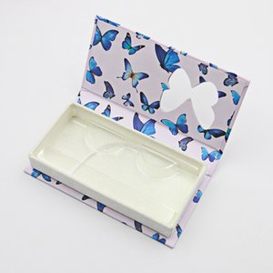 butterfly window false eyelash box long empty mink lashes cases with tray printed pink packaging GWF5954