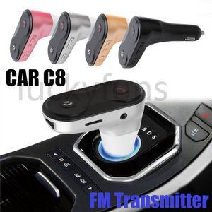 C8 Wireless Bluetooth Multifunction FM Transmitter USB Car Chargers Adapter Mini MP3 Player Kit Holders TF Card HandsFree Headsets Modulator
