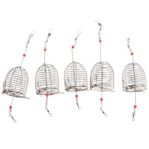 Pack Of 5 Stainless Steel Fishing Bait Cage Trap Basket Feeder Holder Tackle Gear Accessories