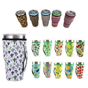 New41 أنماط النيوبرين لهلوان حامل غطاء أكياس drinkware مقبض 30 أوقية reusable معزول الأكمام حقيبة القهوة أكواب أكواب زجاجة المياه EWD7541