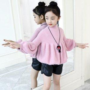 Pullover Violet Plus Velvet Girls Sweater Baby's Coat Outwear 2021 Thicken Warm Winter Autumn Knitting Scoop Jacket Children's Clothing