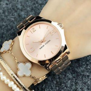 패션 탑 브랜드 여성 소녀 뉴욕 스타일 다이얼 금속 강철 밴드 쿼츠 손목 시계 CO6123