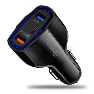 35W 7A 3 Порты Светодиодное Автомобильное зарядное устройство Тип C и Dual USB Универсальный Освещение Адаптер QC 3.0 С Qualcomm Быстрая быстрая технология быстрой зарядки для iPhone 12 Pro Max Smart Cell Phone