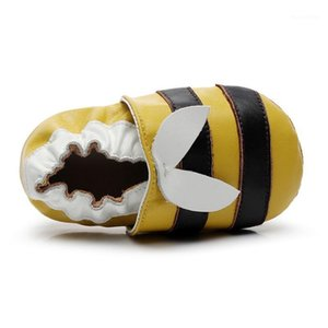 Newborn Baby Boy Girl Shoes Cute Little Bee Leather Stitching Baby Anti-slip On Shoes Toddler First Walkers 0-2T1