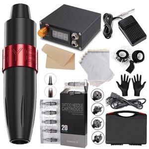 Professional Tattoo Machine Kit Motor Power Supply Rotary Pen Hybrid Cartridges Needles For Permanent Makeup Eyebrow Microblading Body Art