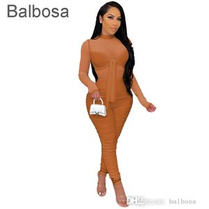 Sexy Women Jumpsuits New Long Sleeve Leggings Rompers Tight Bandage High Stretch Night Club Mesh Bodysuit Onesies