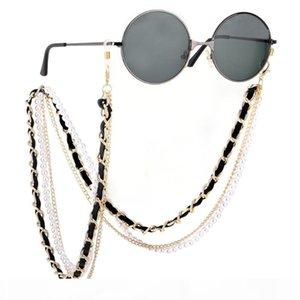1pc Brand Designer Channel Sunny Cord White Black Leather Eyeglasses Sunglasses Mask Holder String Chain Strap Pearl Necklace