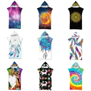 Fashion Swimwear Outdoor Swim Pool Beach Dress Cover Up Towels Microfiber Changing Robe Cloak Women Bathrobe Hooded Surf Poncho Towel Beachwear