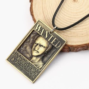 Pendant Necklaces H&F Men Jewelry One Piece Anime Dog Tag Military Card 3D Roronoa Zoro Wanted Necklace Rope