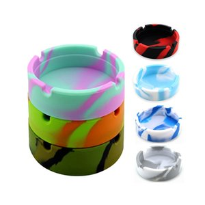 10 Styles Luminous Round Silicone Ashtray Portable Anti-scalding Camouflages Cigarette Holder Mini fluorescent Ash Tray Household Bar Smoking Accessories JY0626