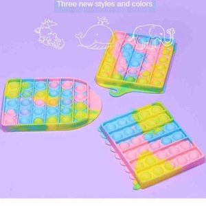 Rainbow Color Bubble Poppers Push Fidget Toys Sensory Bubbles Puzzle Fashion Cute Anxiety Stress Reliever Desktop Game Toy HH41IVNL On Sale wholesale