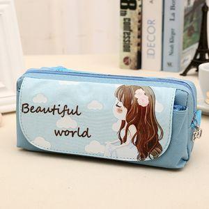 Large Stationery Pencil Pen Case Zipper Make Up Cosmetic Brush Bag Storage Pouch Makeup Travel Bag Case Student Pen Pencil C0326