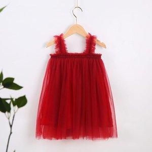 Bebê menina tutu vestido infantil sling verão festa elegante cor sólida fungo gaze saia 5 cores