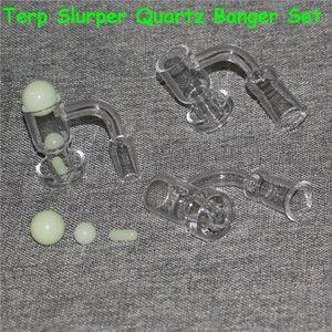 Smoking Terp Slurper Bangers Beveled Edge Quartz Banger with Pearl Ruby Pill For Glass Water Bongs Oil Rigs