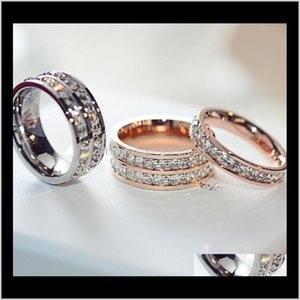 Band Drop Delivery 2021 Titanium Stainless Steel For Women Men Jewelry Cubic Zirconia Rose Gold Sier Rings With Cz Diamond Crystal 9W5Iz