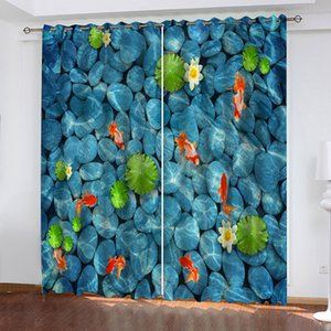 3D Curtain Photo Custom Size Clear Water Bottom Fish And Pebbles Blackout Curtains Bedroom Living Room Office Shading Decor
