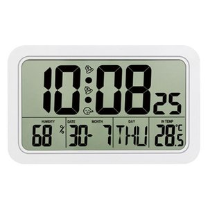 Timers Digital Wall Clock Large Alarm With Date Week Display Temperature & Humidity Meter Calendar Home Office Use