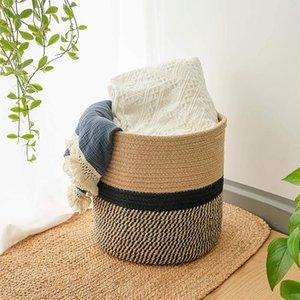 Storage Baskets Household Flower Pot Bathroom Bedroom Laundry Basket Cotton Rope Box Desktop Plant Organizer Decoration