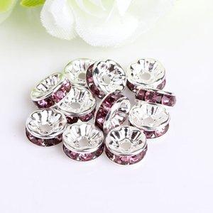 Perle en vrac pour bracelets européens Crétations mixtes multicolores strass argenté de gros trous cristal zircon perles spacer 6mm 8mm10mm 708 q2