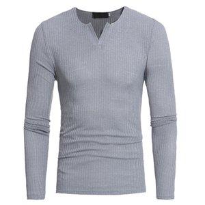 2021 Marka Yeni Erkek T Gömlek Örme İnce Ince Şerit Uzun Kollu V - Boyun T - Erkek Için Gömlek Katı Renk Tshirt Tops