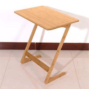 60x40x65cm Z-shaped Bamboo Sofa Side Table Living Room FurnitureSandal Wood Color