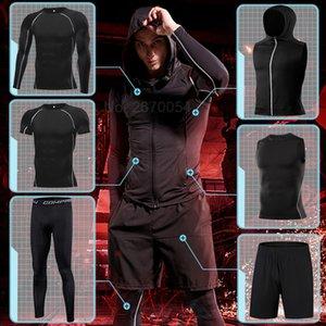 Hombre Running Sport Sport Traje Entrenamiento Traje de Traje Juego Conjunto Conjunto Fitness Compresión Sportswear Gimnasio Quick Seco Sweatshirt MMA