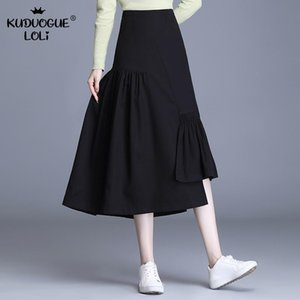 Skirts Irregular Pleated Black Skirt Women Midi Long High Waist A-Line Casual Large Swing Spring Summer Elegant Female OL Autumn